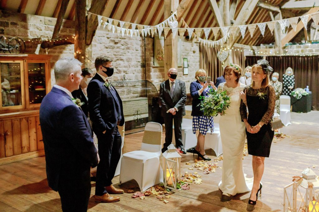 Bride walking down the aisle - Whiston Manorial Barn Wedding Photography,Rotherham  wedding photographer