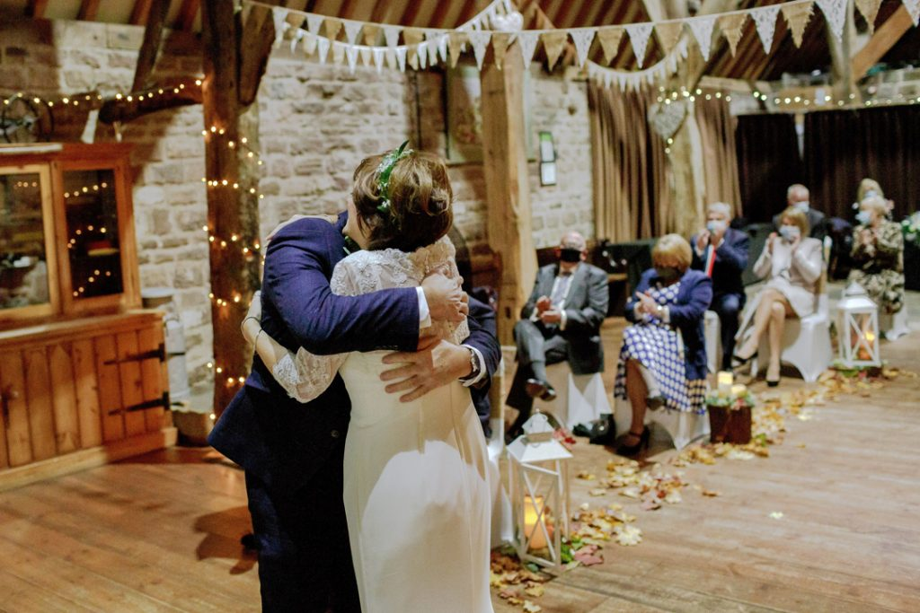Bride and groom first kiss during ceremony - Whiston Manorial Barn Wedding Photography,Rotherham  wedding photographer