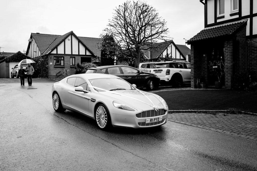 Aston Martin wedding car - Whiston Manorial Barn Wedding Photography,Rotherham  wedding photographer