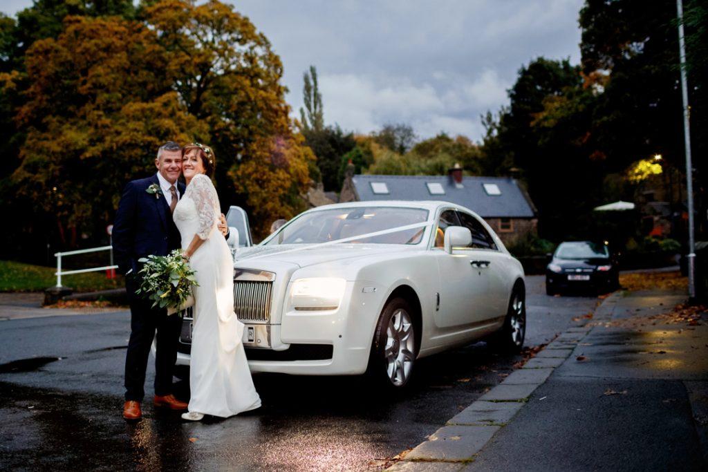 Bride and groom and Rolls Royce - Whiston Manorial Barn Wedding Photography,Rotherham  wedding photographer