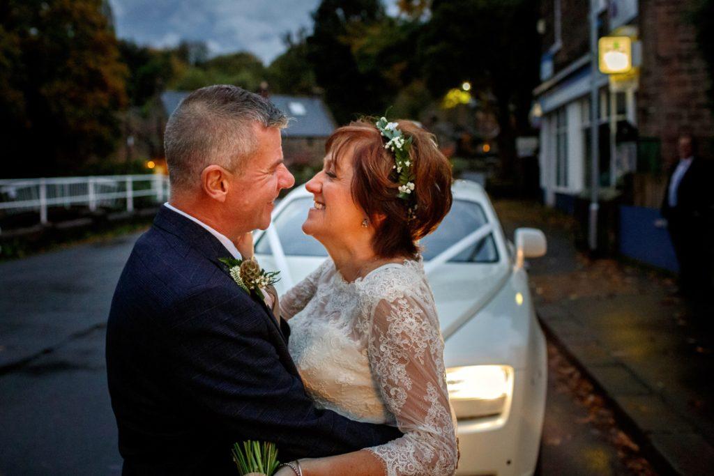 Bride and groom and Rolls Royce -Whiston Manorial Barn Wedding Photography,Rotherham  wedding photographer