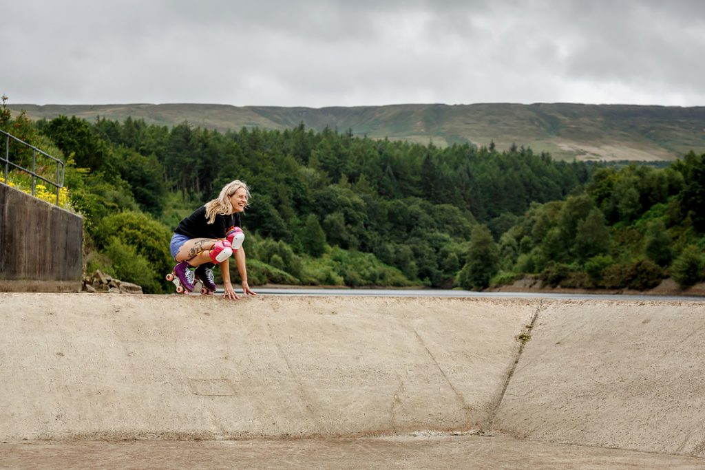 Be Good Skates, secret reservoir, roller skates, quad skates, fun roller skates, Len, John Steel Photography, Huddersfield skate