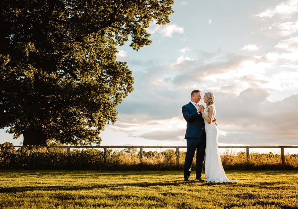 sunset bride and groom portrait at Cross House Lodge, Harome, North Yorkshire